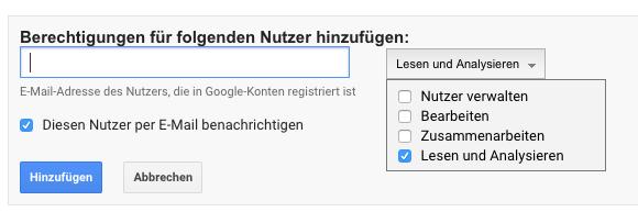 Berechtigungen Google Analytics