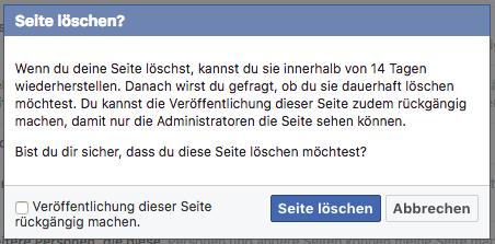 Facebook Seiten endgültig löschen