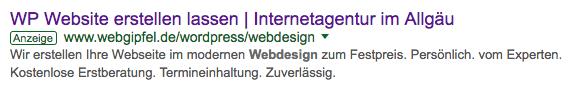 Anzeige für unsere Internetagentur Webgipfel