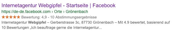 Sterne Snippet in den Suchergebnissen