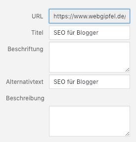 In WordPress ein Bild einfügen und beschriften