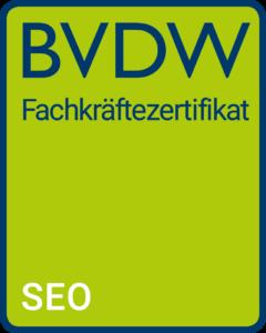 SEO Fachkräftezertifikat vom BVDW